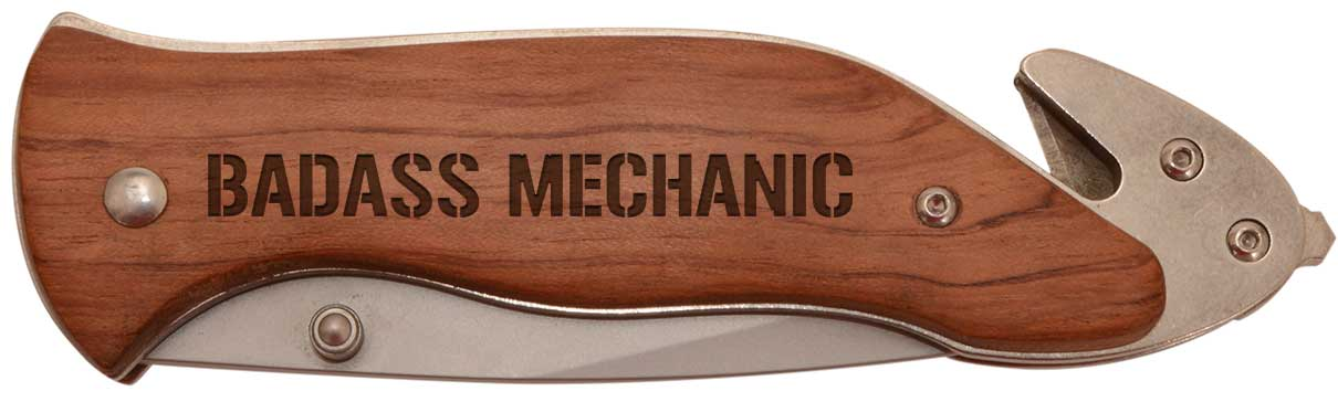 Father's Day Gift for Badass Mechanic Laser Engraved Survival Knife