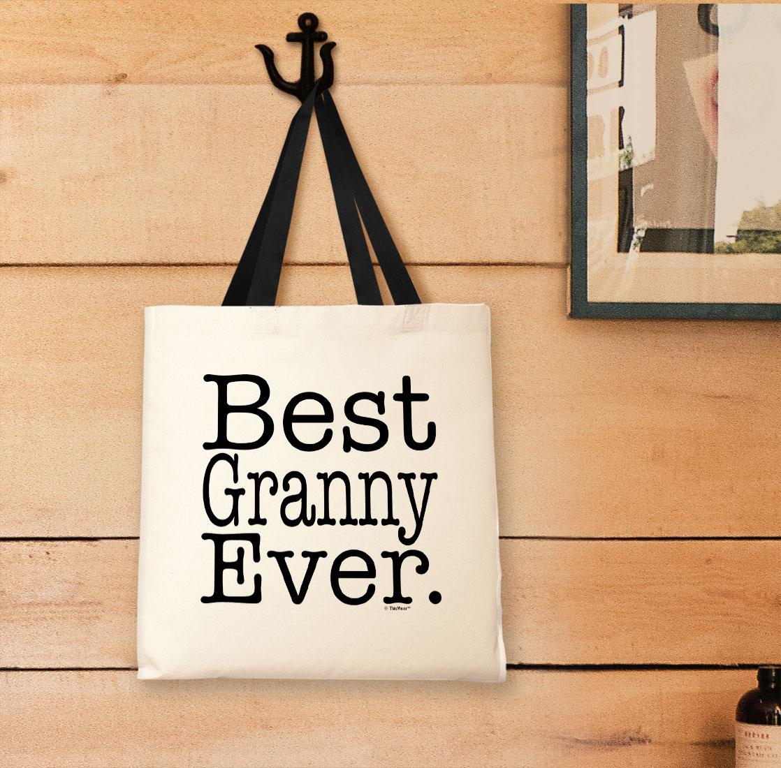 New Grandma Gifts Best Granny Ever Gift Ideas for Grandma Black Canvas Tote Bag