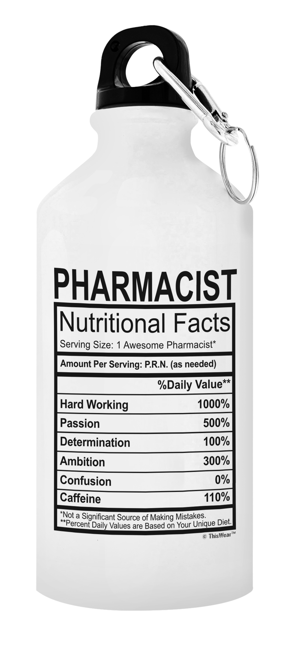 Pharmacist Gifts for Women Pharmacist Nutritional Facts Aluminum Water Bottle